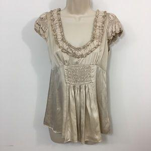 Nanette Lepore ruffle trim cap sleeve blouse 2
